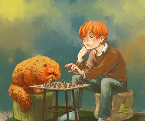 harry potter, ron weasley, and crookshanks image