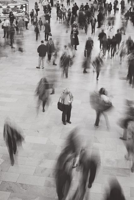 people, black and white, and alone image
