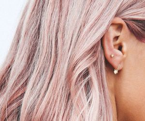 hair, pink, and earrings image