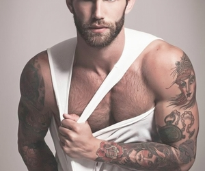 bearded, tanktop, and white image