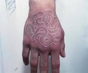tattoo, snake, and white image