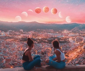 friends, moon, and city image