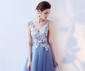 blue dress, evening dress, and homecoming dress image
