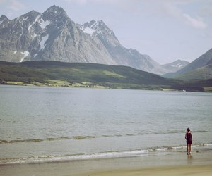 girl, lake, and mountains image