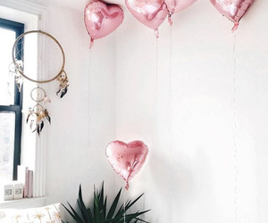 balloons, room, and pink image