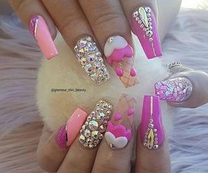 glitter, ice cream, and nails image