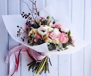 flowers, bouquet, and gift image