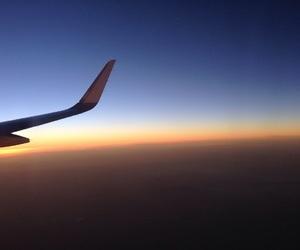 aviao, flight, and sunset image
