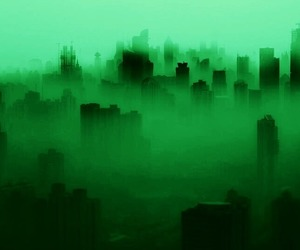 city, dark, and fog image