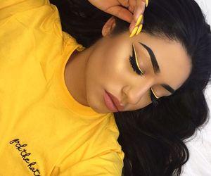 makeup, girl, and yellow image