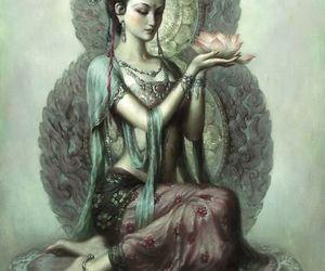 art, lotus, and goddess image
