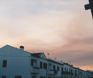 Houses, landscape, and pastel image