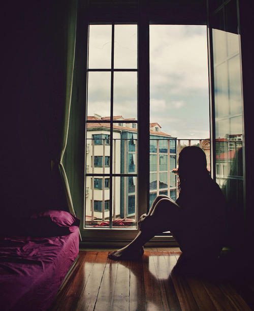 girl, window, and alone image