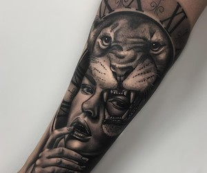 girl, lion, and tattoo image
