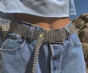fashion, jeans, and belt image