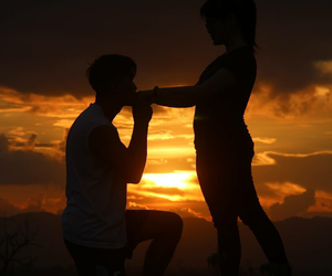 lovers, Relationship, and sunset image