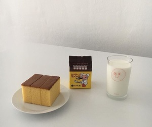 food, cake, and milk image