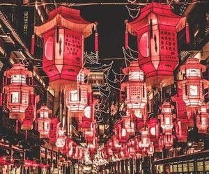 china, red, and light image