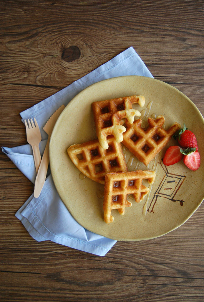 breakfast, laranja, and waffles image