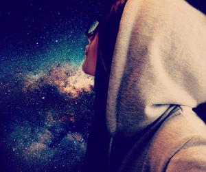 galaxy, girl, and grey image