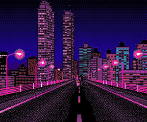 city, night, and pixel image