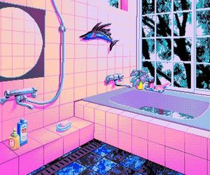 pink, pixel, and bathroom image