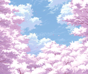sakura, anime, and sky image