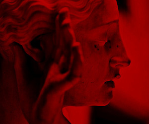 red, aesthetic, and statue image