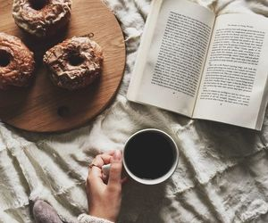 book, coffee, and donuts image
