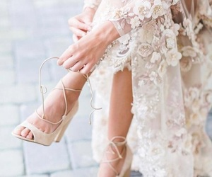 fashion, heels, and wedding dress image