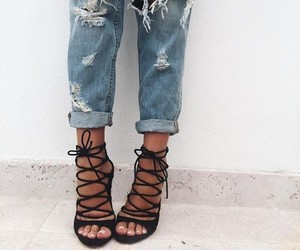 black, heels, and sandals image
