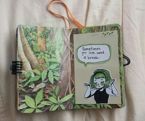art, green, and journal image