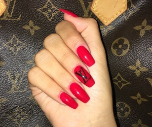 LV, nails, and red image