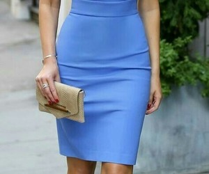 blue, pencil dress, and chic image