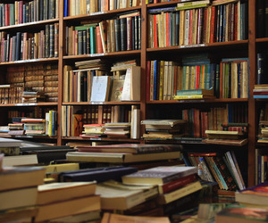 bookcase, books, and library image