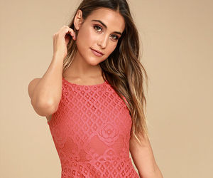 dress, lace, and coral pink image