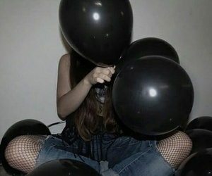 black, girl, and balloons image