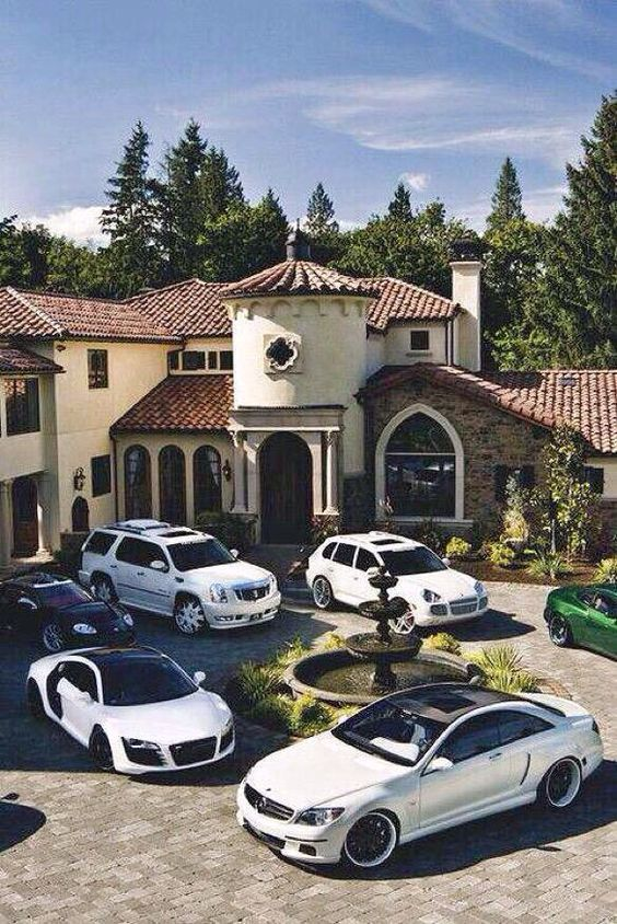 luxury, car, and house image