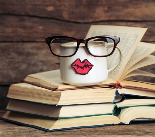 book, lips, and coffee image