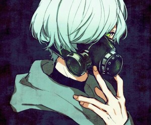 anime, green eyes, and mask image