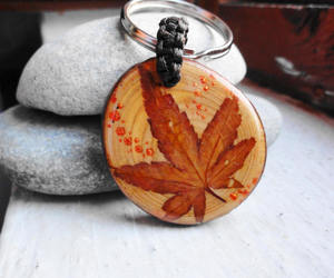 etsy, natural wood, and wood leaf keychain image