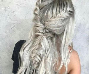 braid, b&w, and beauty image