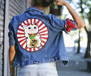 china, jacket, and lucky cat image