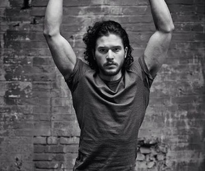 kit harington, black and white, and sexy image