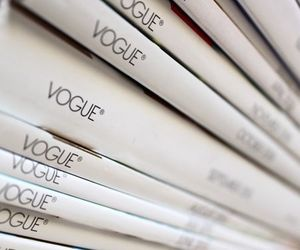 magazine, stack, and vogue image