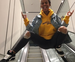 girl, yellow, and vans image