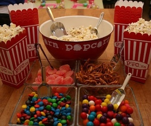 movie, party, and popcorn image