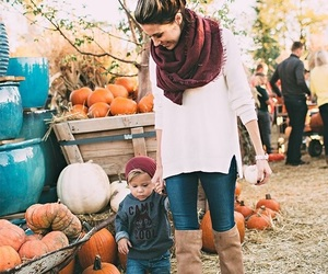 baby, fall, and family image