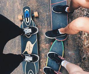 board, longboard, and skater image