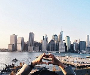 city, travel, and heart image
